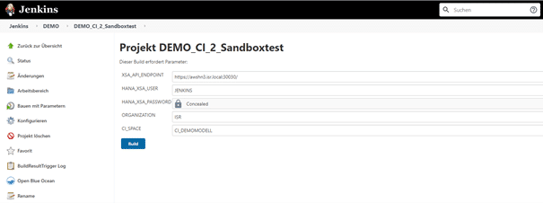 Umgebungsparameter des Sandboxtests